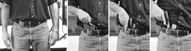 """High Noon Holsters: 1. Shirt is tucked over """"Closing Argument"""" and Glock 36.  2. Grab shirt and lift.  3. Grab gun.  4. Gun clears holster."""