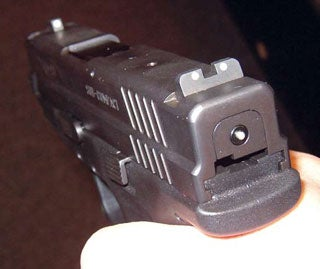 Some features that are stand-out from the other concealed carry are the loaded chamber indicator and the little button that shows you that the striker is cocked.