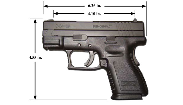This Mini-XD is the shortest concealed carry polymer pistols in the world. It also features the only light rail in their class. Comes with two magazines-a standard and a high capacity with a grip extension.