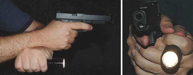 Techniques in handling concealed carry guns and flashlight.
