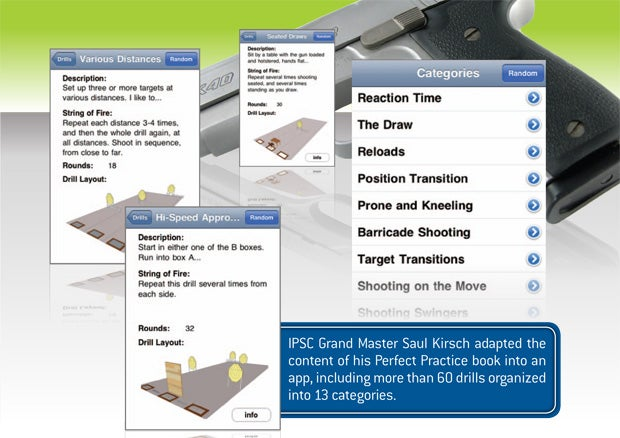 IPSC Grand Master Saul Kirsch adapted the content of his Perfect Practice book into an app, including more than 60 drills organized into 13 categories.