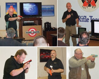 clockwise from right: Tom Givens, Rob Pincus, John Farnam, Lt. Chuck Haggard, and Spencer Keepers provide eye-opening lessons in defensive pistolcraft.
