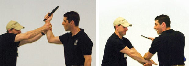 left and right: Working with an assistant, edged weapon expert Leslie Buck demonstrates knife retention skills for his students.