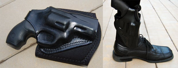 Left: The Galco Ankle Glove lives up to its namesake. It fits gun and ankle like a glove! Right: The Galco Ankle Glove wraps securely and stays put. A thumb break adds another level of safety.