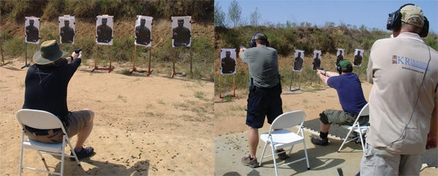 We tested students on their speed to hit the target when starting from a seated position, and recorded their draw times both when they drew and shot while seated (left) and when they stood up to draw and shoot (right).