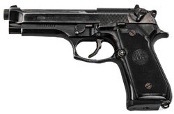 The Beretta M92 (right) has been the standard-issue sidearm of the United States military since 1985 and has also distinguished itself as a duty sidearm with such law enforcement agencies as the Los Angeles Police Department and the Los Angeles County Sheriff's Office.