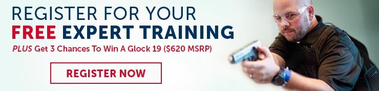 USCCA advertisement for free expert training sessions and three chances to win a Glock 19 semiautomatic pistol