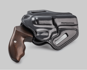 A black leather Galco brand Combat Master holster