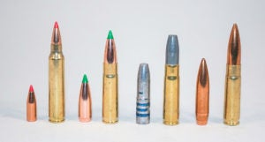 A line-up against a white background of four types of bullets both on their own and encased in the appropriate brass casings.