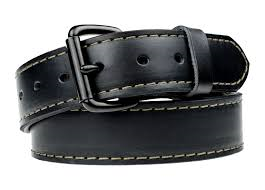 A colied-up black leather gun belt with a black metal buckle.