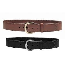 A borwn leather belt with a gold buckle beside a black leather gun gelt with a silver buckle